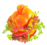 Draufsicht einer gemüse-sandwich mit tomate und pfeffer scheiben ist — Stockfoto