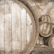 Royalty-Free Stock Photo: Old wine casks in vintage stile, background