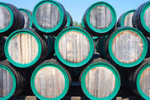 Warehouse with wine casks with madeira outdoors — Stock Photo
