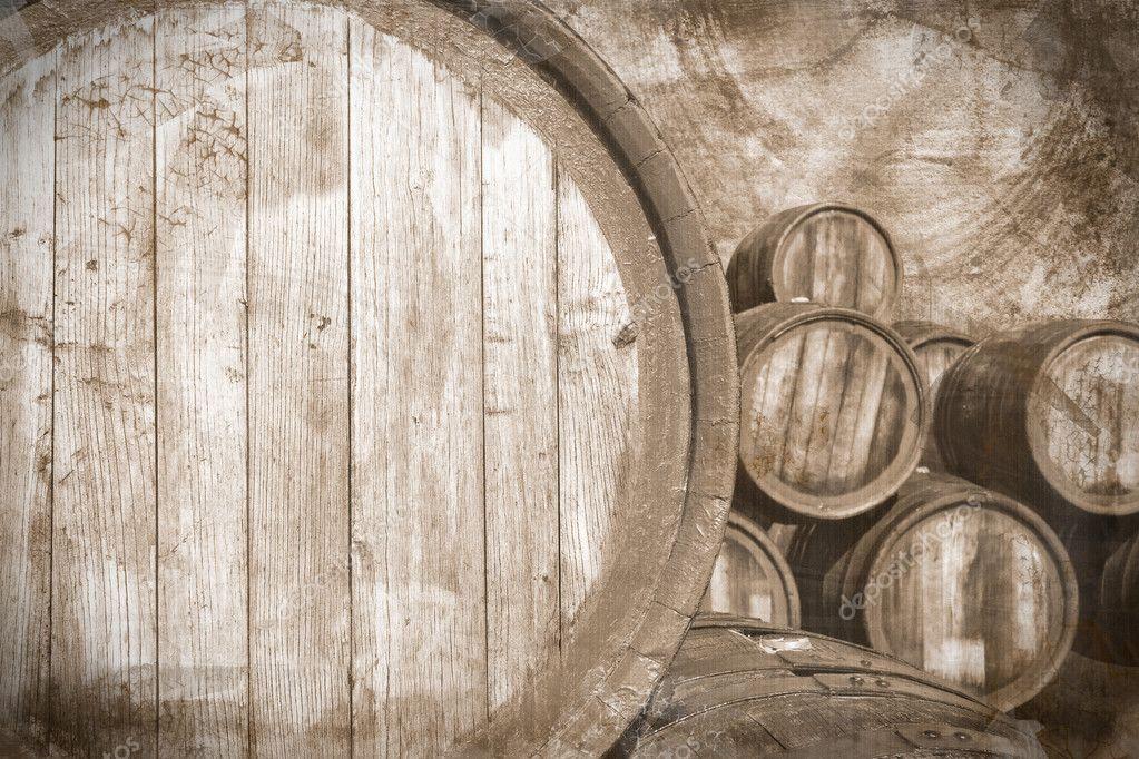 Old wine casks in vintage stile, background — Stock Photo ...