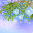 Decoration balls on pine branch, beautiful background — Stockfoto