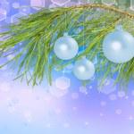 bolas de decoração na filial de pinho, fundo bonito — Foto Stock