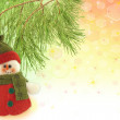 Cute snowman under a pine tree — Stok fotoğraf