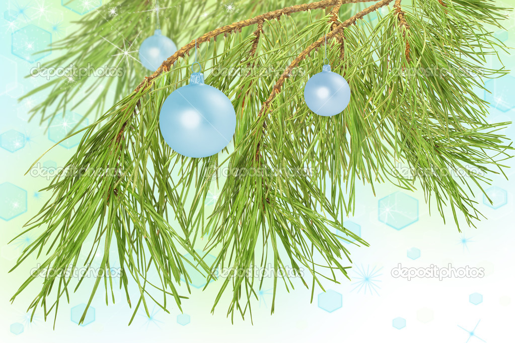 Christmas decoration ball on pine branch, beautiful blue background — Stok fotoğraf #7664676