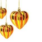 Christmas balls – hearts isolated on white — Stock Photo