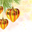 Christmas balls – hearts on pine tree branch — Zdjęcie stockowe