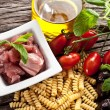 Italian Fusilli pasta with swordfish ingredients — Stock Photo