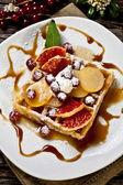 Waffle with fruits — Stock Photo