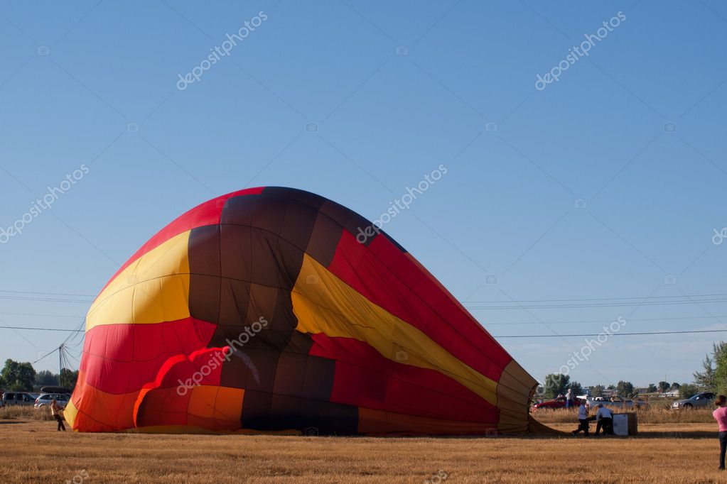 Hot air balloons in a field during a festival in Loveland, Colorado. — Stock Photo #6840637