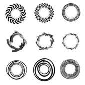 Vector grunge geometric Circle border sets — Stock Vector