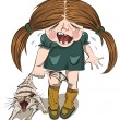 Crying girl tortures a cat - Stock Vector