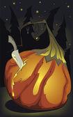 Halloween pumpking birth — Stock Vector