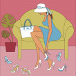 Royalty-Free Stock Vector Image: Woman Trying on Shoes