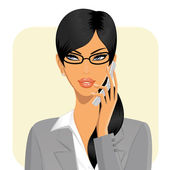 Businesswoman Holding a Mobile Phone — Stock Vector