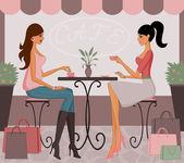 Café después de ir de compras — Vector de stock