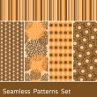 Seamless Patterns Set — Stock Vector