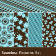 Seamless Patterns Set — Vettoriali Stock