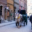 Horse and cart in Old Town.  Warsaw. Poland — Stock Photo