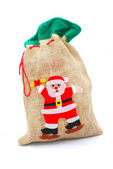 Christmas gunny sack — Stock Photo