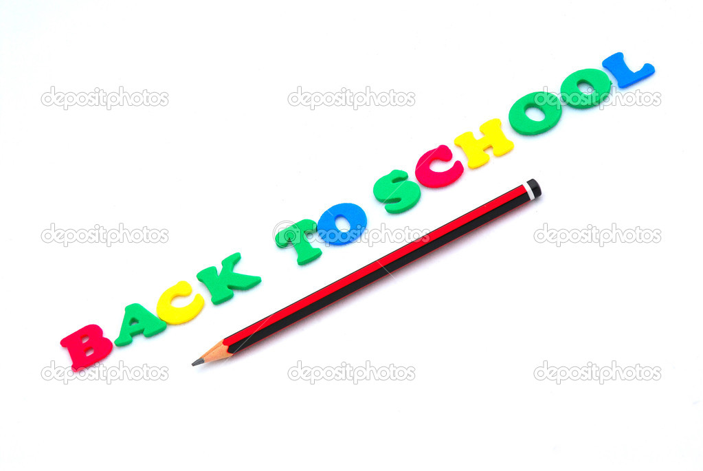 The words BACK TO SCHOOL written with colorful foam letters with pencil. Image isolated on white studio background. — Stock Photo #6858859