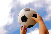 Soccer hands with football — Stock Photo