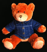 Teddy bear with blue denim shirt — Stock Photo
