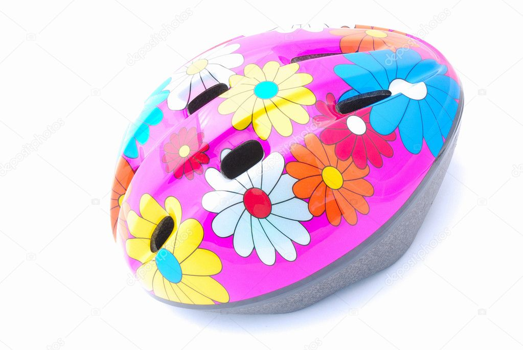 A pink bike helmet for kids with lots of colorful flower patterns. Image isolated on white studio background. — Stock Photo #6947085