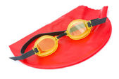 Bathing cap with goggles — Stockfoto