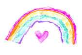 Heart under rainbow — Stock Photo