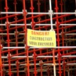 Scaffolding with danger sign — Stok fotoğraf