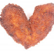 Chicken schnitzel in heart shape — Stock Photo #7155089