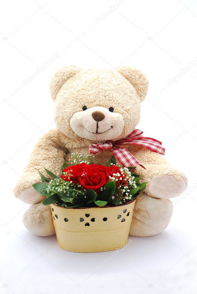 Cute Teddy Bear With Red Roses a Cute Beige Teddy Bear With