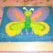 Butterfly birthday cake for children — Stock Photo