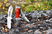 Knifes thrust in a log — Stock Photo