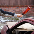 Hooligan smashing windshield — Stock Photo