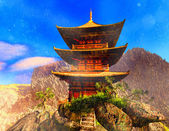 Buddhist temple in mountains — Stock Photo