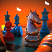 Chess battle -white flag defeat — Stock Photo