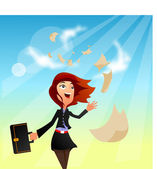 Businesswoman With Flying Papers — Stock Vector