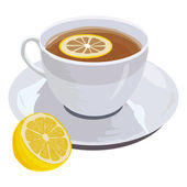 Cup of tea and lemon — Stock Vector