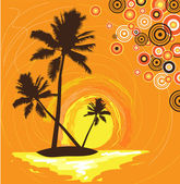 Island with palms — Stock Vector