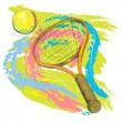 Tennis racket and ball — Stock Vector #6997315
