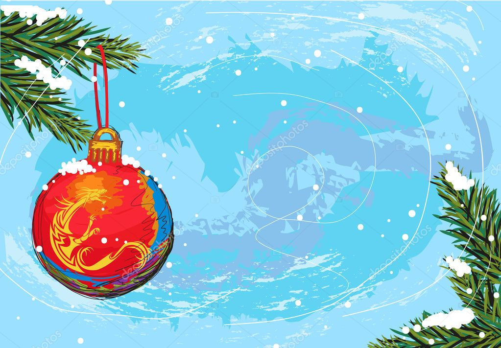 Hand drawn illustration of beautiful christmas background, elements are grouped, easy to edit — Stock Vector #6997326