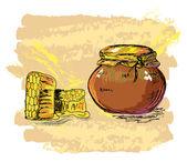 Honey jar and honeycombs — Stock Vector
