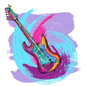 Hand drawn electric guitar — Stock Vector