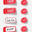 Sale and new red labels - Stock Vector