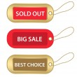 Gold and red tags — Stock Vector