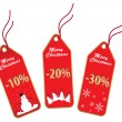 Red christmas labels - Stock Vector