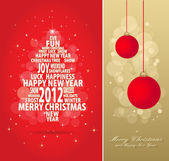 Red and gold christmas card — Stock Vector