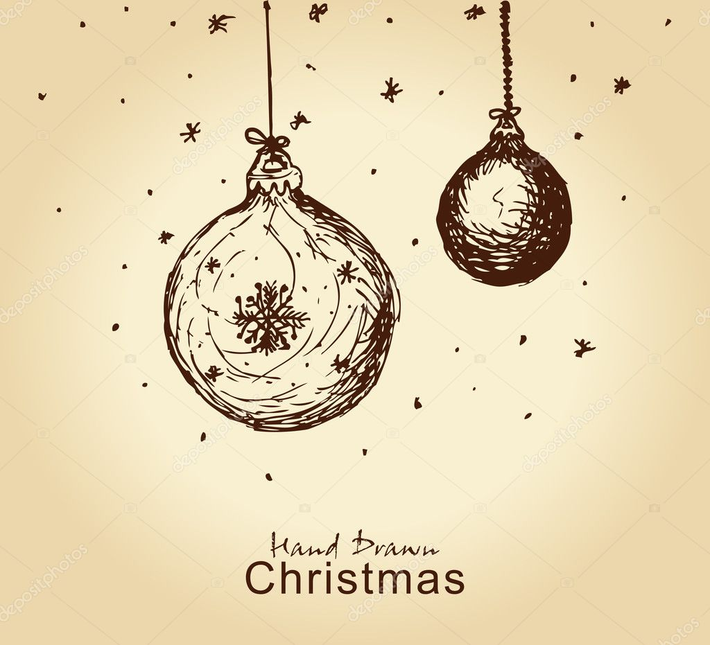 Hand drawn vintage christmas balls for xmas design  Stock Vector #7399327