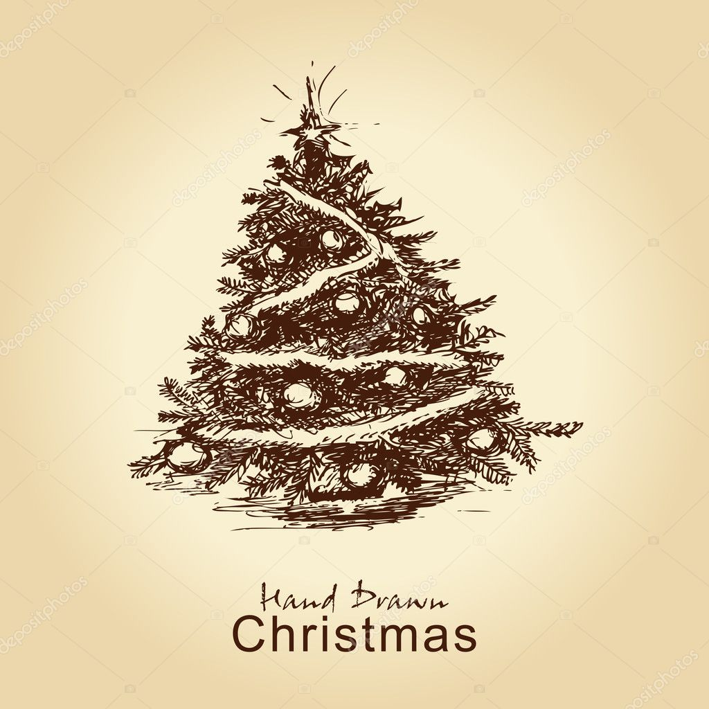 Hand drawn vintage christmas tree for xmas design, with balls — Stok Vektör #7399337